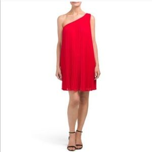 Likely | Fenimore Red Pleated One Shoulder Dress 4